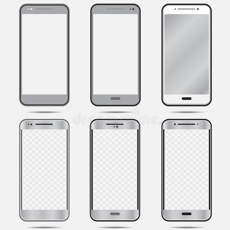 Smartphone black white isolated set in gray color-01 royalty free illustration