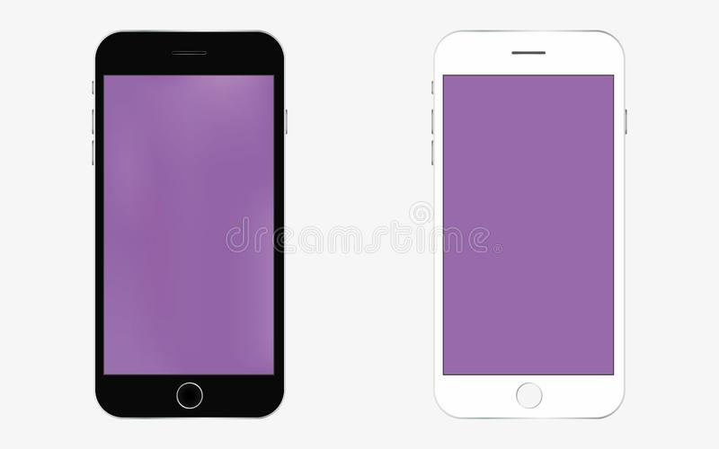Smartphone black and white vector eps10 with purple screen. Mobile phone icon. smartphone in black and white color. vector illustration