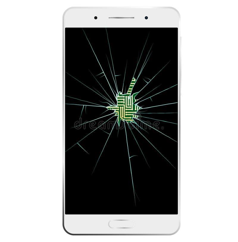 Smartphone blanc avec l'écran cassé La communication est interrompue illustration libre de droits