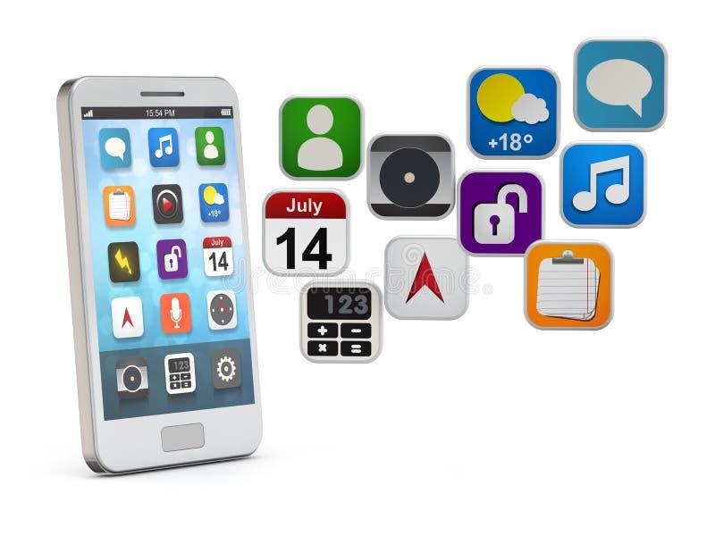 Smartphone blanc avec le nuage d'apps illustration libre de droits