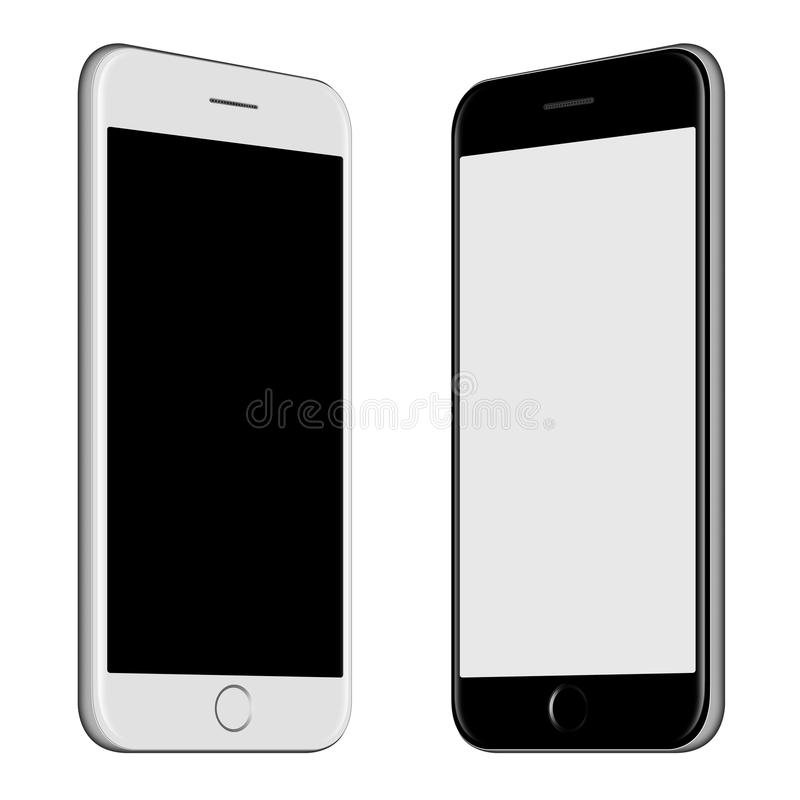 Smartphone blanc et maquette noire de smartphone avec l'écran vide illustration stock
