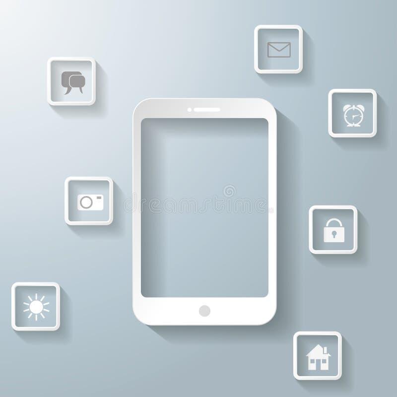 Smartphone blanco con Apps Infographic PiAd ilustración del vector