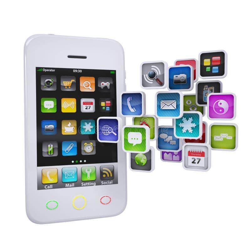 Smartphone blanco con los iconos de la aplicación stock de ilustración