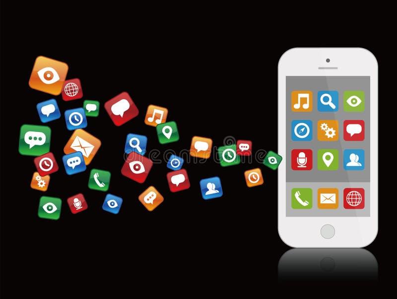 Smartphone blanco con los iconos de la aplicación libre illustration