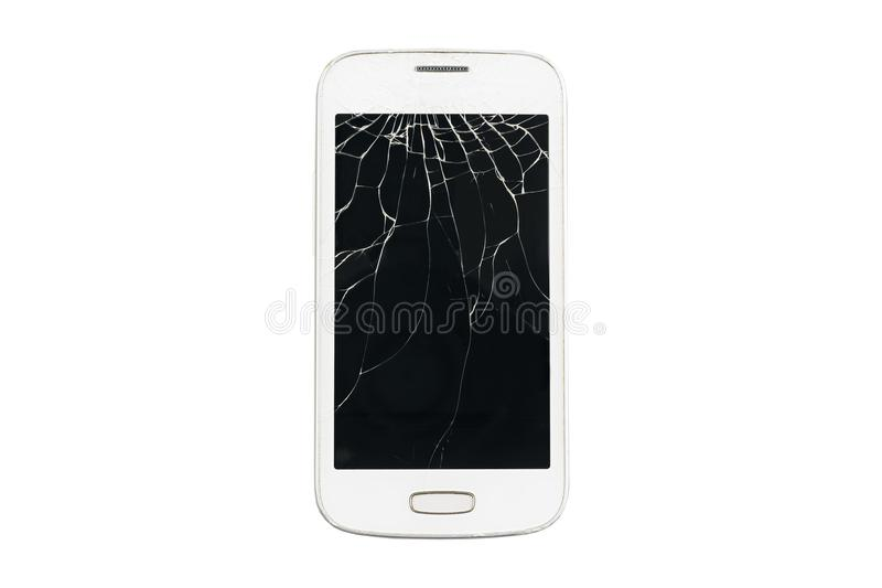Smartphone blanco quebrado en un fondo aislado fotografía de archivo