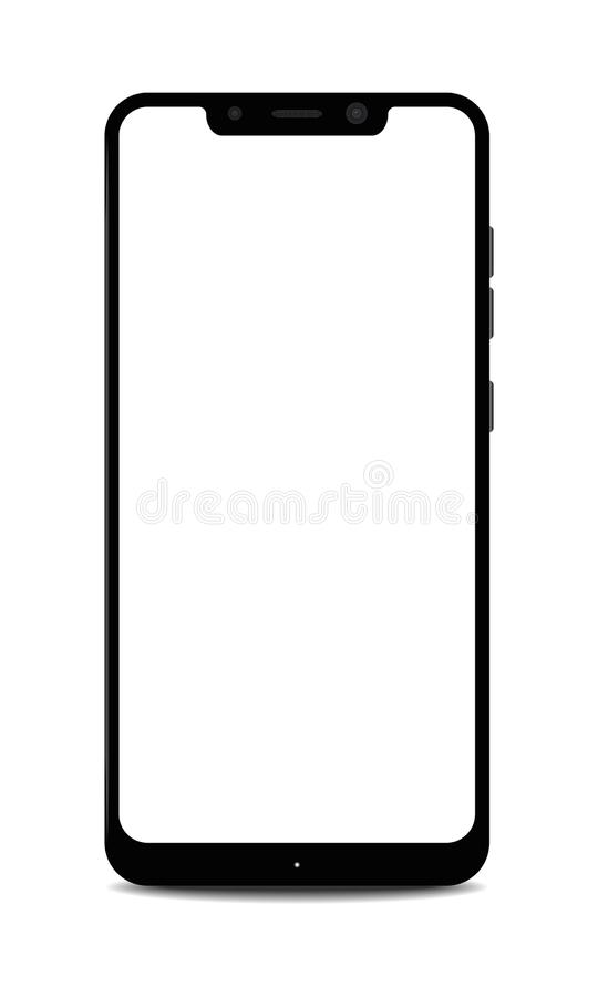 Smartphone with Blank Notch Display. Illustration of a Smartphone with Blank Notch Display royalty free illustration