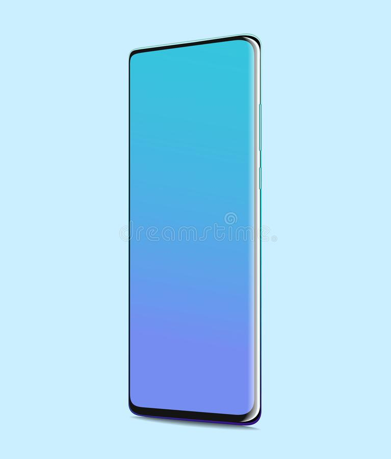 Smartphone with blank screen. Fullscreen realistic on  blue background vector illustration