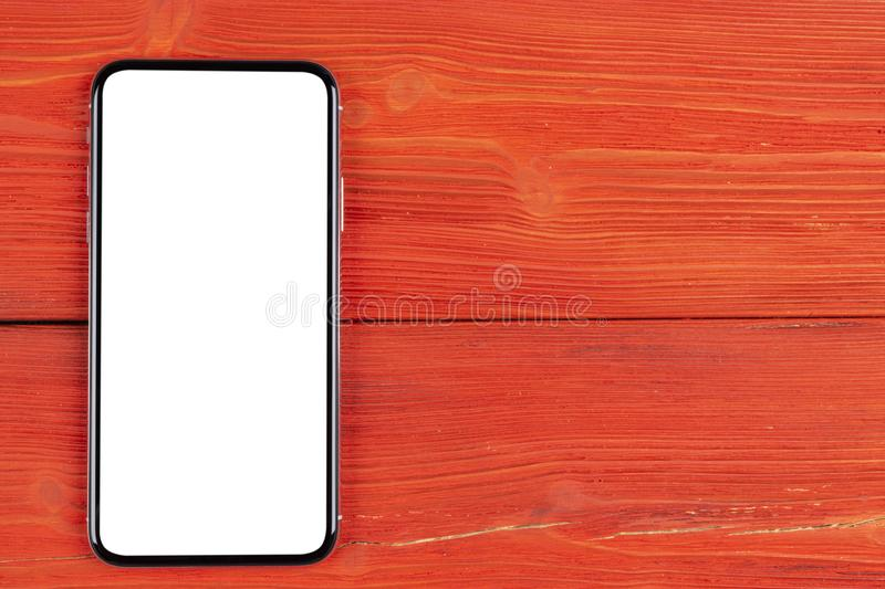 Smartphone with blank screen mock up. Smartphone isolated screen with clipping path. Mobile phone white screen with copy space on stock images