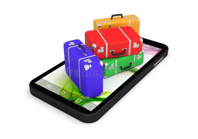 Smartphone booking vacancy suitcase application vector illustration