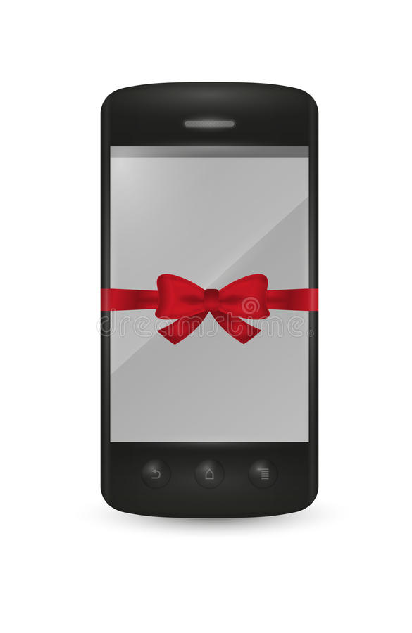 Smartphone with bow as a gift vector illustration