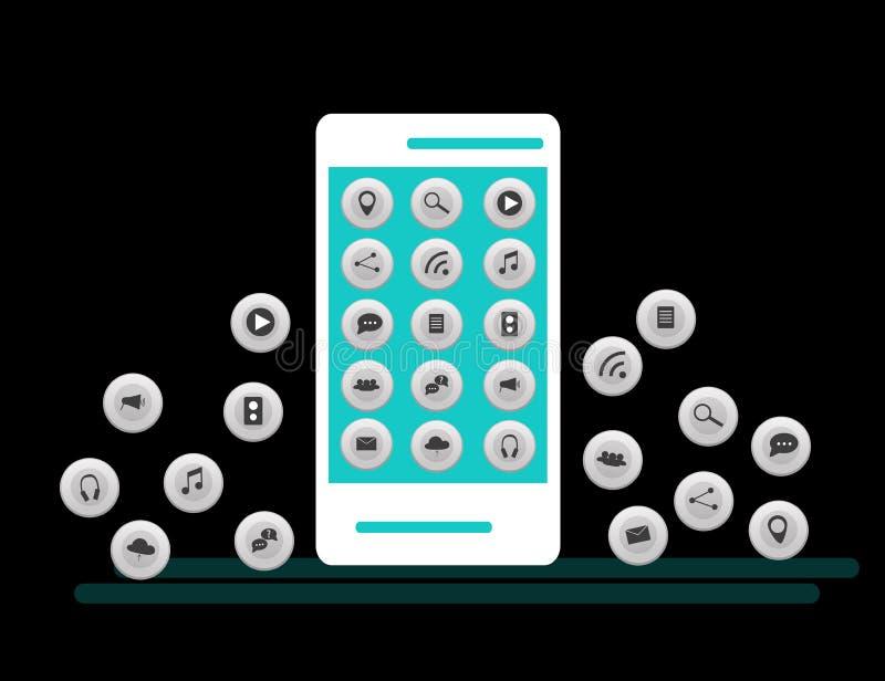 Smartphone branco com a nuvem dos ícones da aplicação e dos ícones de Apps que voam em torno deles, no fundo branco ilustração stock