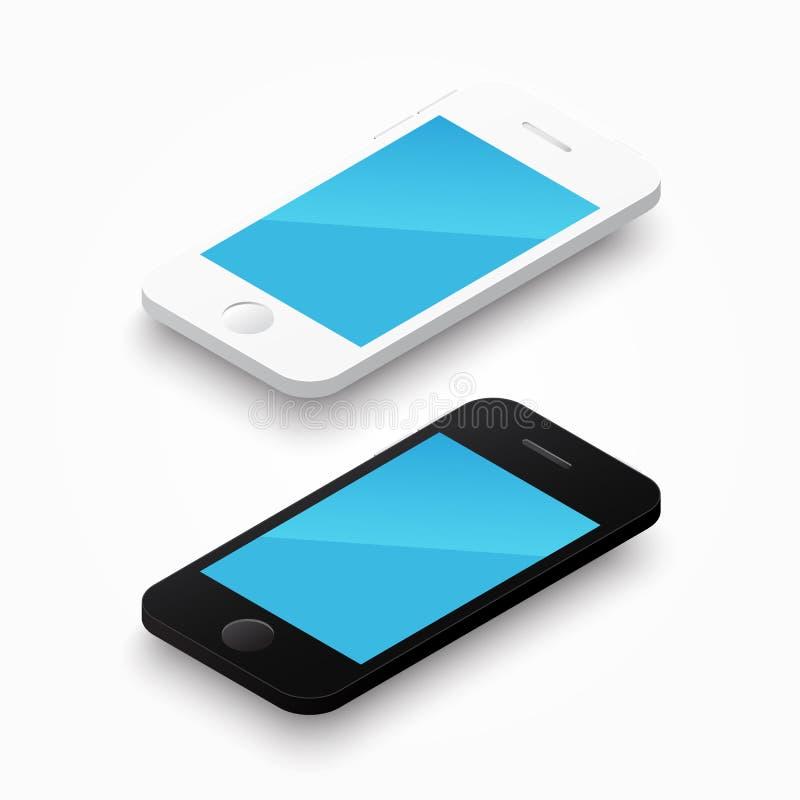 smartphone branco e preto de 3D da cor ilustração stock