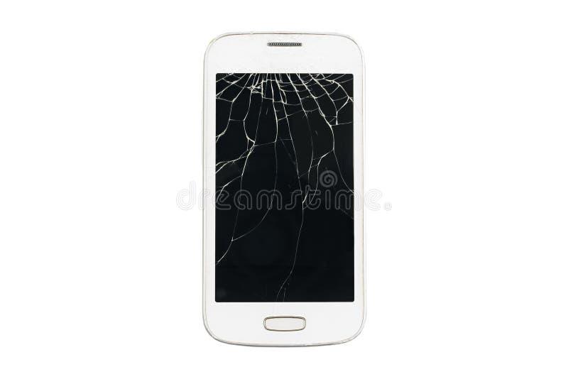 Smartphone branco quebrado em um fundo isolado fotografia de stock