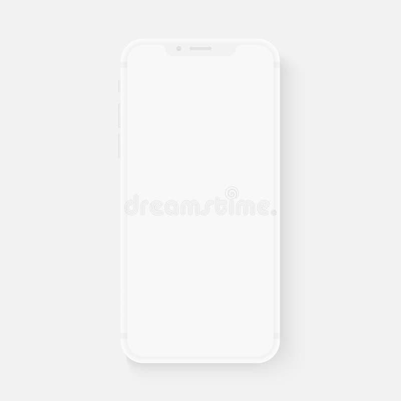 Smartphone branco totalmente brandamente realístico do vetor molde realístico do telefone 3d para introduzir algum teste da relaç ilustração stock