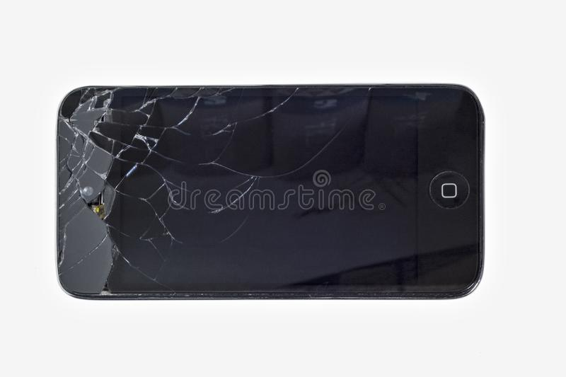 Smartphone with broken screen. royalty free stock photo