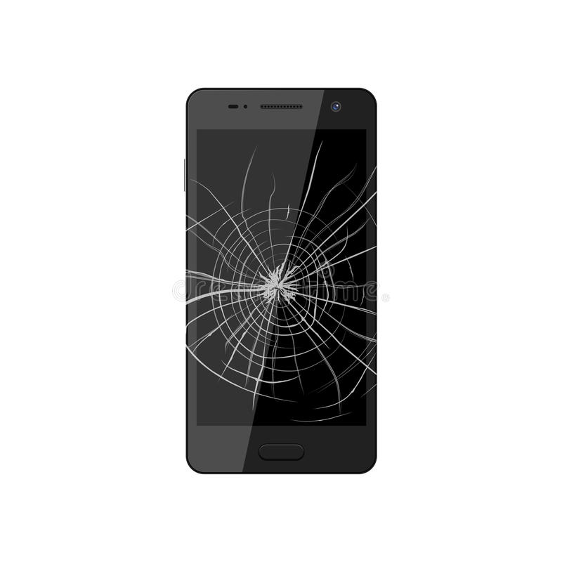 Smartphone with broken screen. Crashed phone monitor requires re. Pair. Vector illustration stock illustration