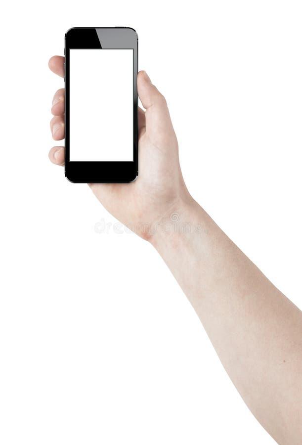 Smartphone buktade i hand royaltyfri foto