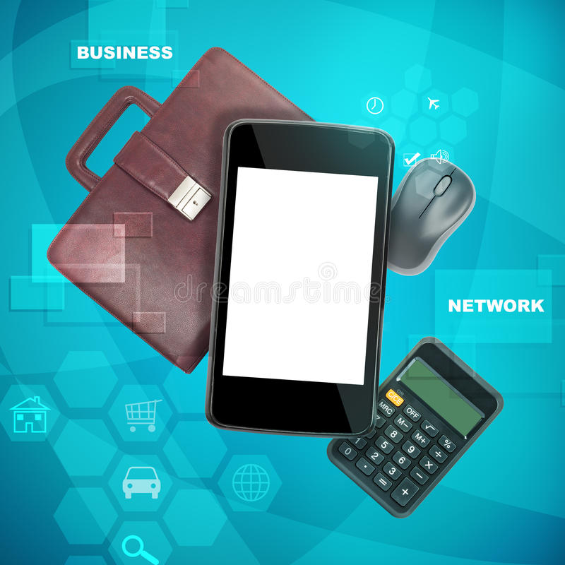 Smartphone with calculator. Smartphone with suitcase and calculator on abstract background royalty free stock photo