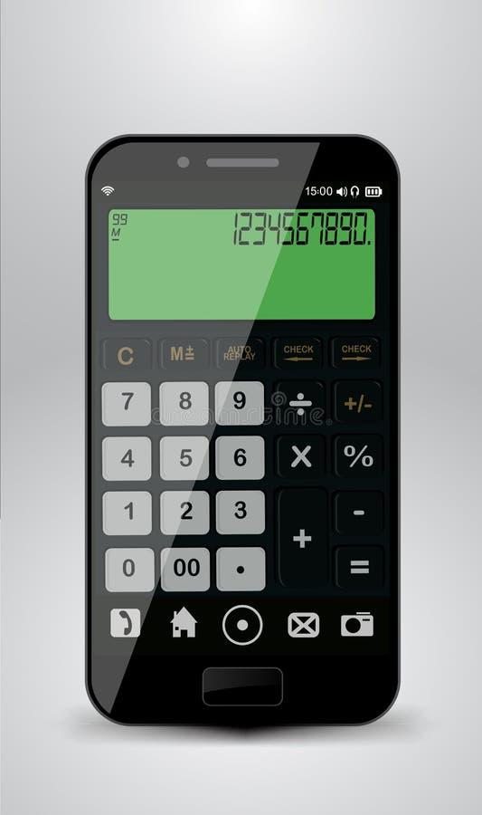 Smartphone with calculator stock illustration