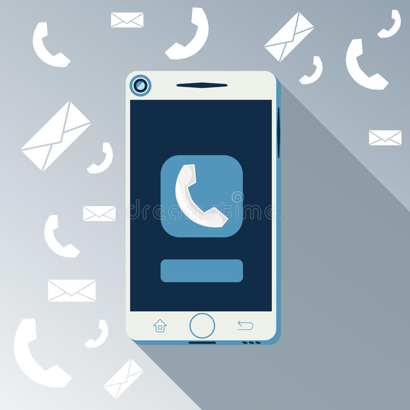 Smartphone call and sends message royalty free illustration