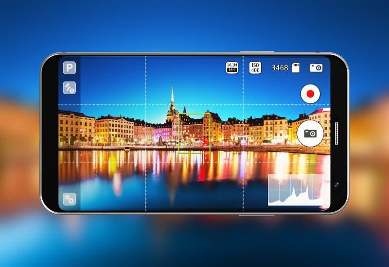 Smartphone with camera app stock illustration