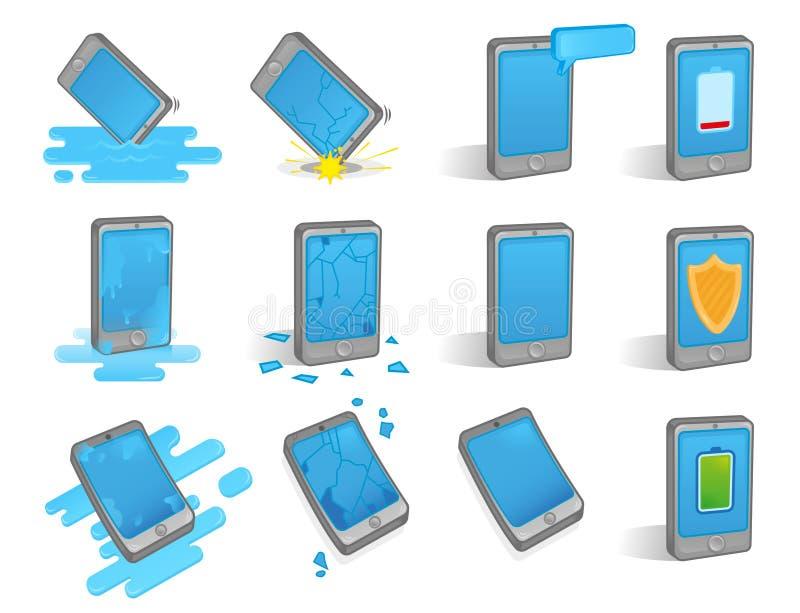 Smartphone cassé réglé illustration stock