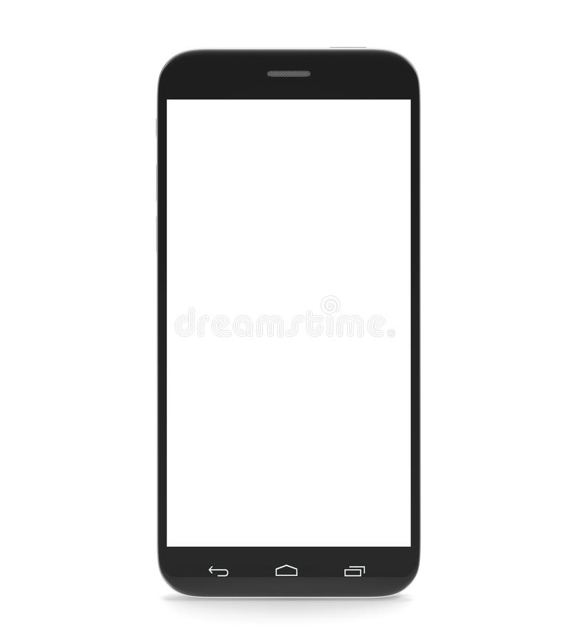 Smartphone, cell phone, with a blank screen. Isolated on white background with shadow. 3d illustration High resolution
