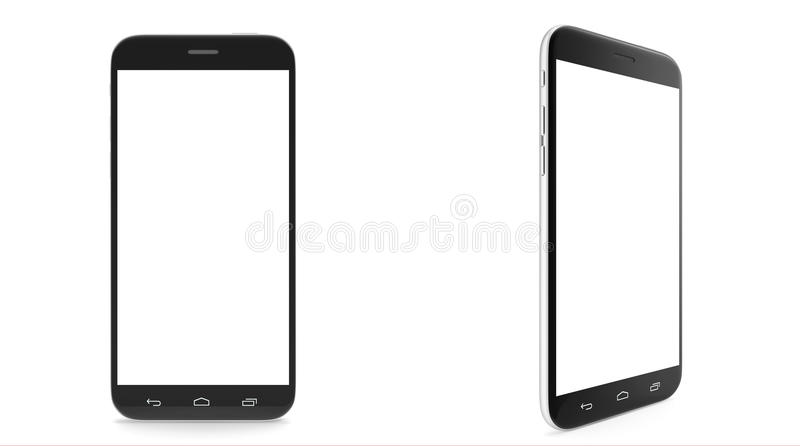 Smartphone, cell phone, with a blank screen. Isolated on white background with shadow. 3d illustration High resolution vector illustration