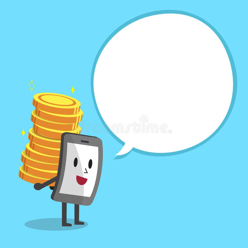 Smartphone character carrying big money stack with white speech bubble vector illustration