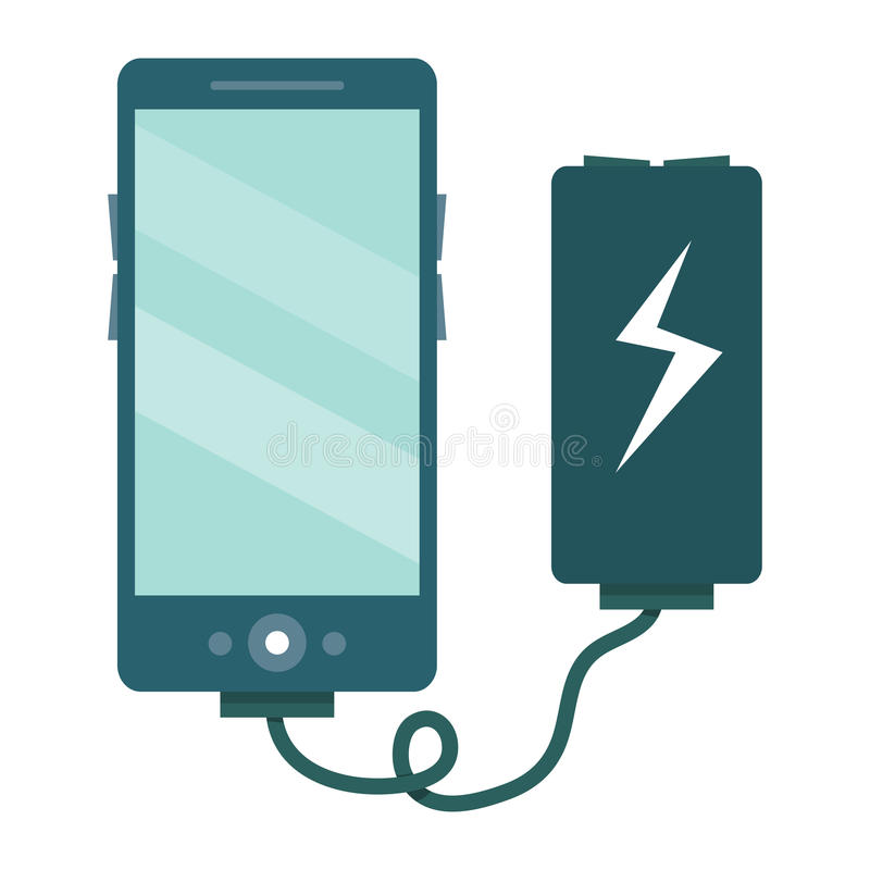 The smartphone is charged via the charger. Vector illustration i vector illustration