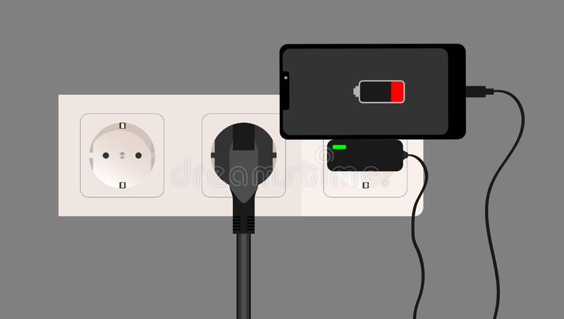 Smartphone charger adapter and electric socket, low battery notification, flat design. Vector. vector illustration