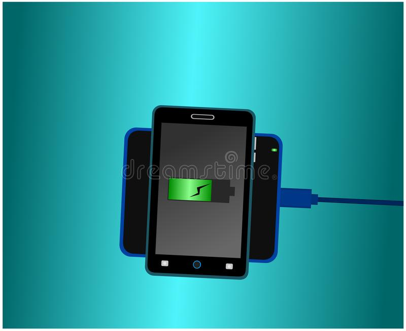 Smartphone charging battery with wireless charger vector illustration