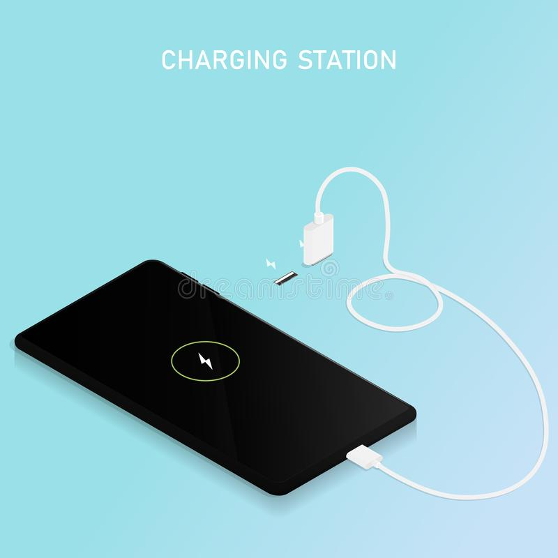 Smartphone charging station cable usb vector vector illustration