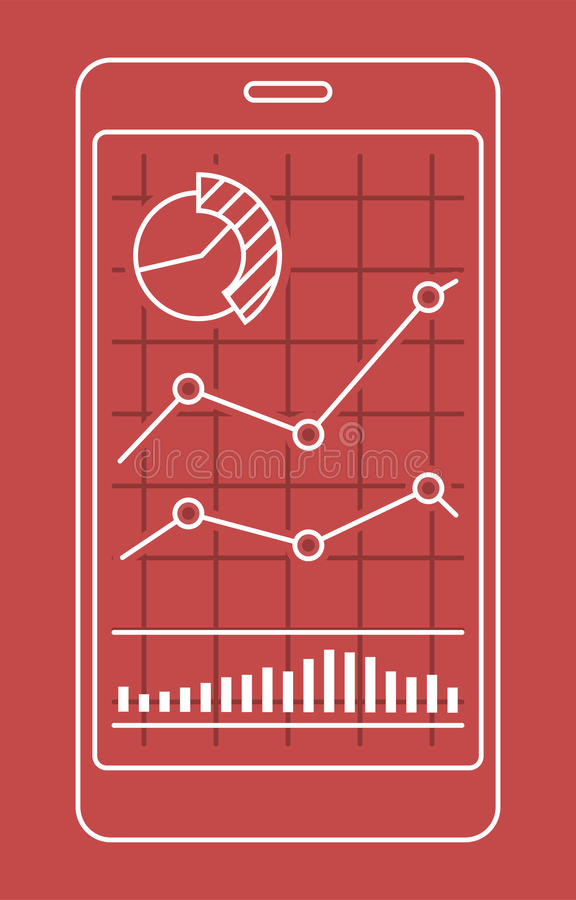 Smartphone with chart of forex or stock data graphic in thin line style. vector illustration