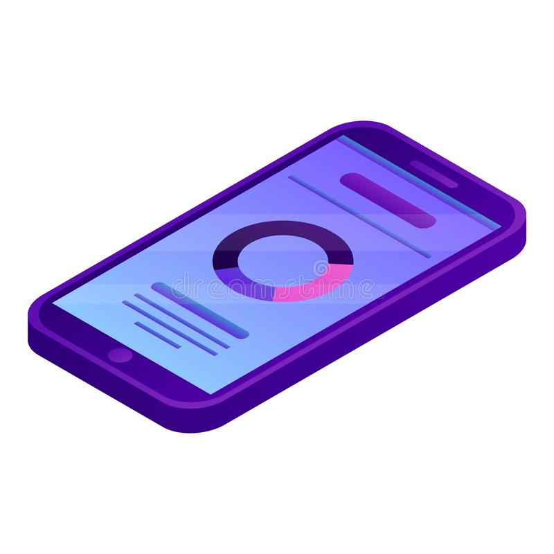 Smartphone chart icon, isometric style vector illustration
