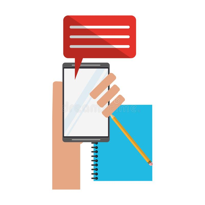 Smartphone chat and address book with pencil. Vector illustration graphic design royalty free illustration