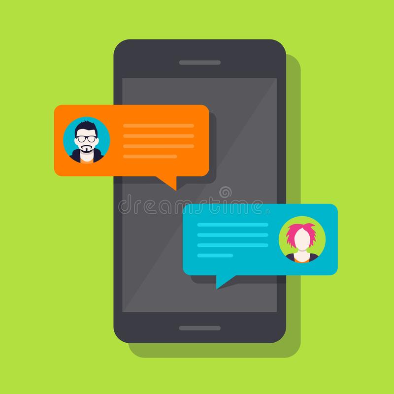 Smartphone Chat, Conversation. Concept of a mobile chat or conversation of people via mobile phones. Can be used to illustrate globalization, connection, phone royalty free illustration
