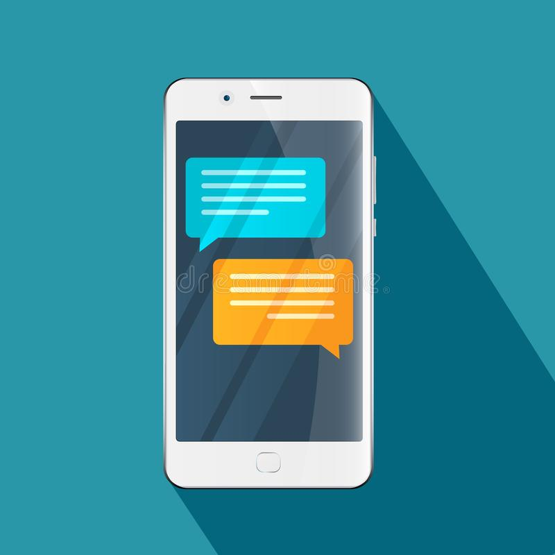 Chat Messages Notification On Smartphone Illustration, Flat Cartoon