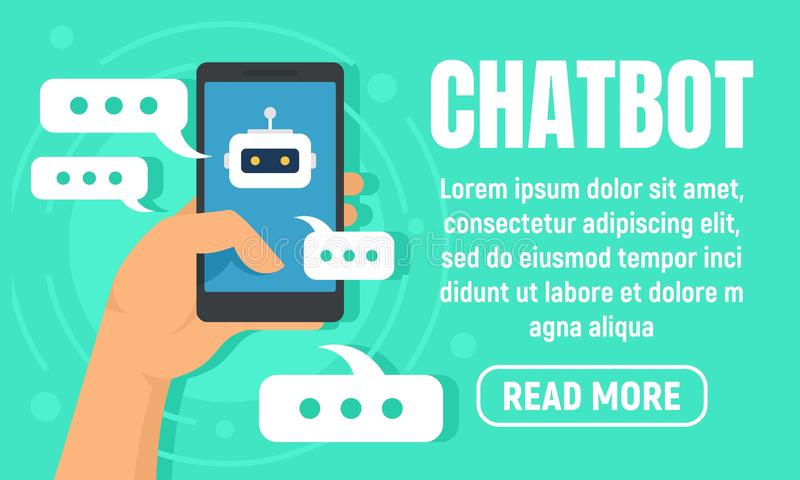 Smartphone chatbot concept banner, flat style royalty free illustration