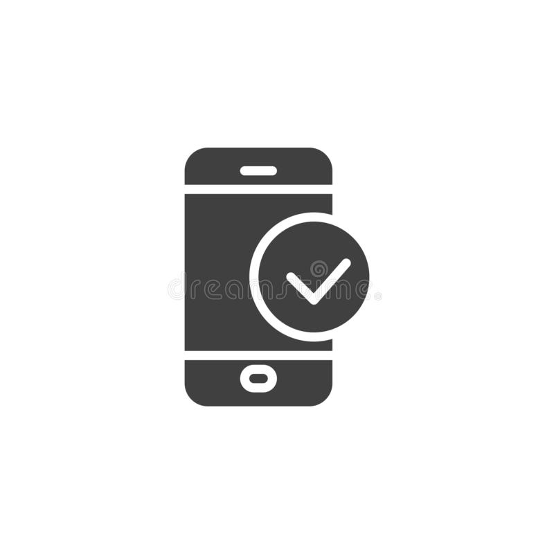 Smartphone Check vector icon. Filled flat sign for mobile concept and web design. Phone check mark glyph icon. Symbol, logo illustration. Vector graphics royalty free illustration