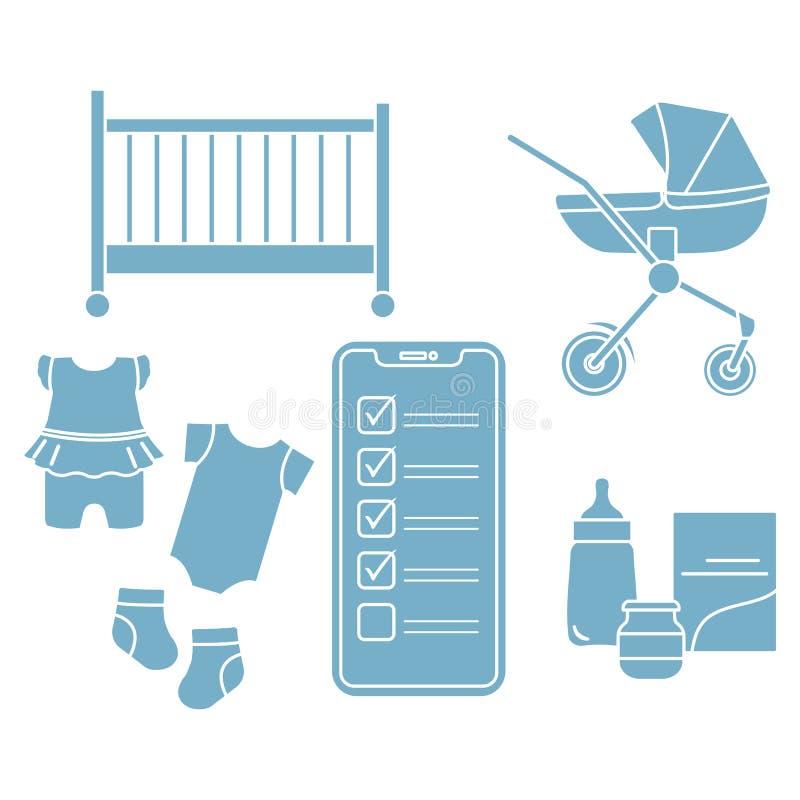 Smartphone with checklist newborn baby accessories. Vector illustration with smartphone with checklist, newborn baby accessories. Pram, crib, bottle, baby food vector illustration