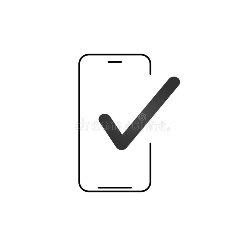 Smartphone and checkmark vector icon, line outline art mobile phone approved tick notification, successful updated check mark, royalty free illustration