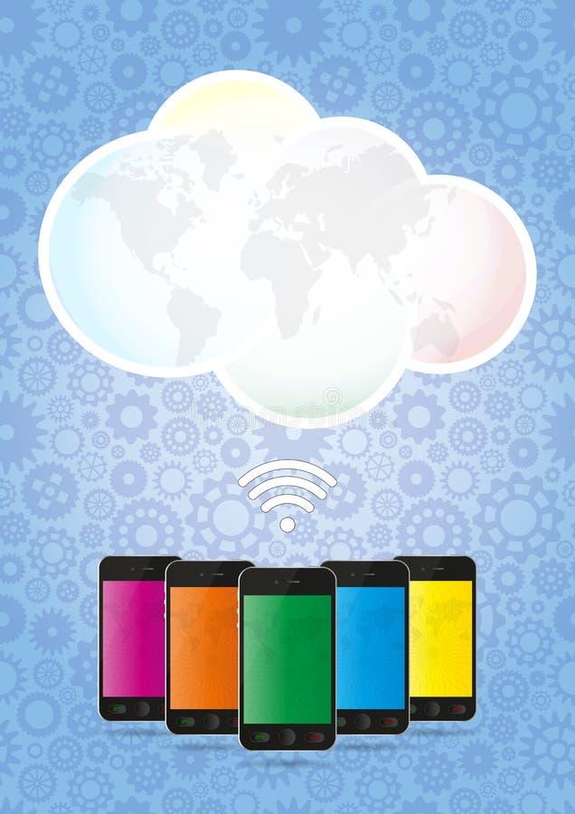 Download Smartphone chmura ilustracja wektor. Obraz złożonej z błękitny - 34257813