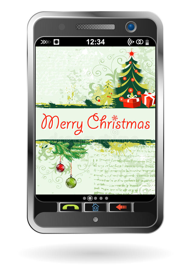 Smartphone With Christmas Background Royalty Free Stock Photography