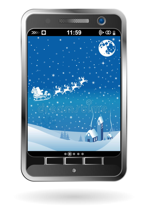 Download Smartphone With Christmas Background Stock Vector - Illustration: 21839255