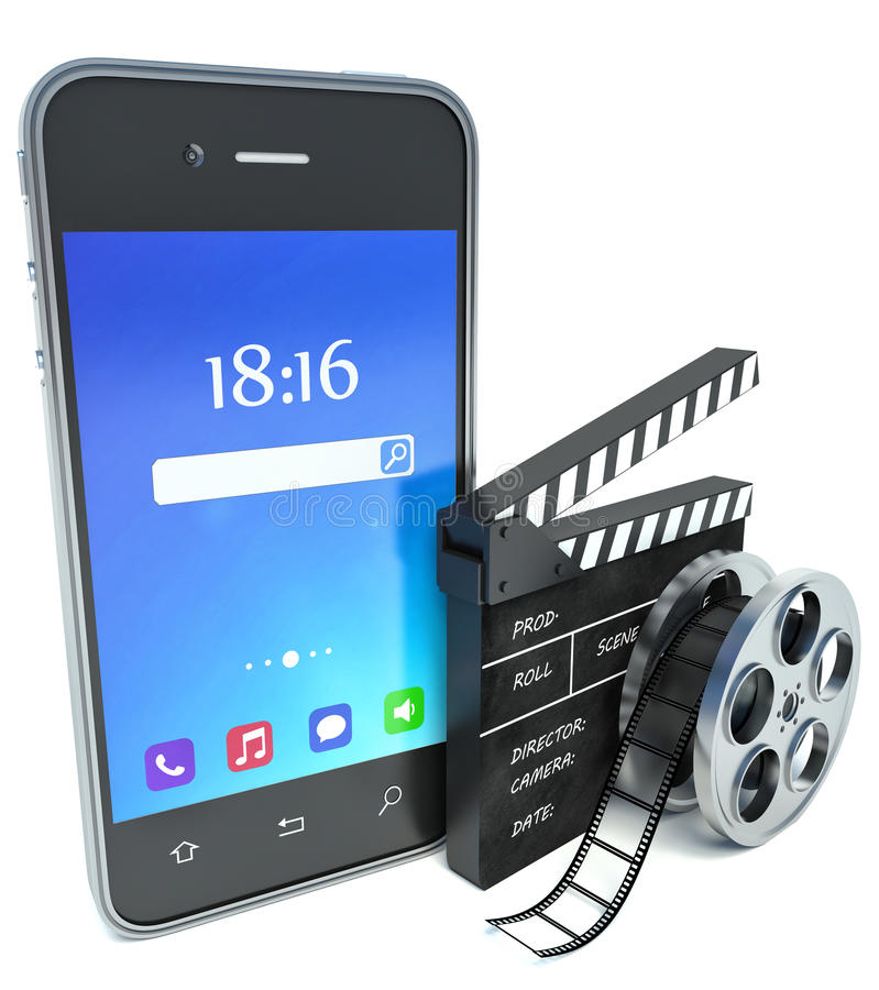 Smartphone and cinema clap and film reel, over white royalty free illustration