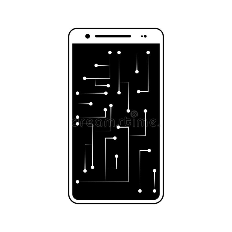 Smartphone, circuit, chip icon. Element of fingerprint for mobile concept and web apps icon. Glyph, flat icon for website design. And development, app royalty free illustration