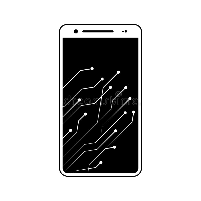 Smartphone, circuit, new technology icon. Element of fingerprint for mobile concept and web apps icon. Glyph, flat icon for. Website design and development, app stock illustration