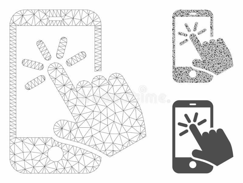 Smartphone Click Vector Mesh Carcass Model and Triangle Mosaic Icon. Mesh smartphone click model with triangle mosaic icon. Wire carcass triangular mesh of vector illustration