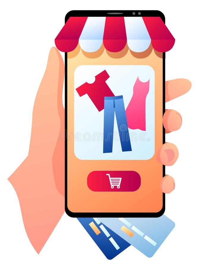 A smartphone with clothes. A vector illustration of a smartphone in a hand with clothes on an orange screen. Isolated illustration on a white background stock illustration